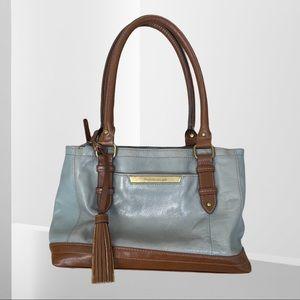 Tignanello Tote Bag 100% Leather Light Blue